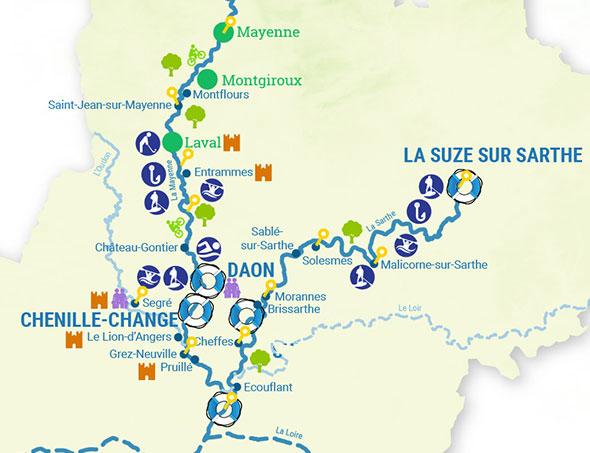 Itinéraires croisière fluviale mayenne